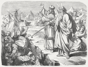 "So they got away from the homes of Korah, Dathan, and Abiram on every side, and Dathan and Abiram came out and stationed themselves in the entrances of their tents with their wives, their children, and their toddlers. Then Moses said, ""This is how you will know that the Lord has sent me to do all these works, for I have not done them of my own will. If these men die a natural death, or if they share the fate of all men, then the Lord has not sent me. But if the Lord does something entirely new, and the earth opens its mouth and swallows them up along with all that they have, and they go down alive to the grave, then you will know that these men have despised the Lord!"" When he had finished speaking all these words, the ground that was under them split open,  and the earth opened its mouth and swallowed them, along with their households, and all Korah's men, and all their goods. They and all that they had went down alive into the pit, and the earth closed over them. So they perished from among the community. (Numbers, Chapter 16, 27-33). Woodcut after a drawing by Julius Schnorr von Carolsfeld (German painter, 1794 - 1872) from the"