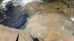 Así se ve desde el espacio Israel, sufriendo la tormenta de arena junto con Líbano, Siria y Jordania